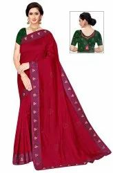 Janasya Women's Multicolor Vichitra Silk Printed Saree With Blouse Piece(CLIPS-Pack of 5)