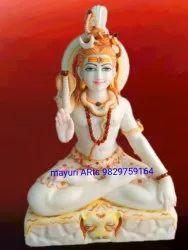 2 Feet Sitting Marble Lord Shiva Statue