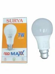 Round 7W Surya Neo Maxx LED Bulb, For Home