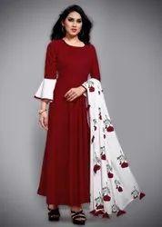 Multicolor Women Casual Wear 3/4th Sleeve Rayon Fancy Straight Cut Plain Kurti