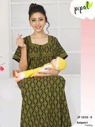 Mix Women Jaipuri Print Feeding Nighty