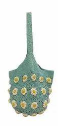 Cotton Macrame Crochet Flower Bag, Size/dimension: 25 X 30 Cm