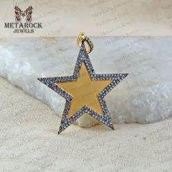 Pave Diamond Star Gold Plated Pendant