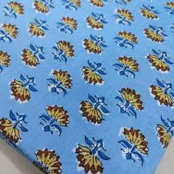 Stylish Cotton Fabric, Printed, Brown and Blue