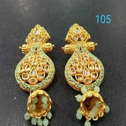 Light Green And Gold Western Kundan Earring Set For Women And Girl Bijoux