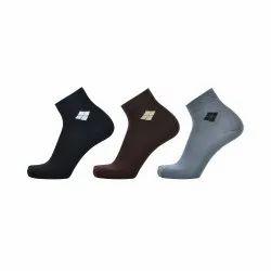 Cotton Ankle Socks Solid Black Brown Grey