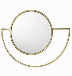 Modern Brass Iron Round Mirror, For Home, Size: 20x15inch