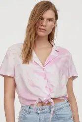 Viscose Women Surplus Branded Export Ladies Crop Shirt