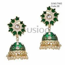 Fusion Arts Meenakari Jhumka Earrings