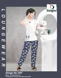 Casual Wear Printed Womens White Hosiery Pyjama Set, Size: L
