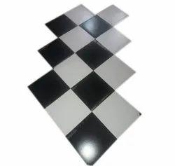 Matt Square Black White Ceramic Floor Tile Set, Size: 12X12 inch, Thickness: 12 mm