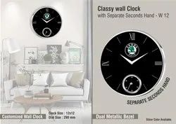 Grid Fokuz Black Round Wall Clock, For Office & Home, Size: 12 Inches Dial