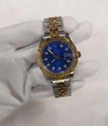 Rolex Date-Just Diamond Marker Dual Tone Blue Dial Swiss Automatic Watch