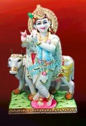 2 Feet Marble Lord Krishna Statue With Cow