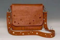 Leather Brown Handmade Bag, Size: 9x11