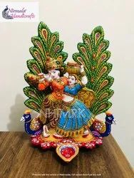 Nirmala Handicrafts Exporter Metal Hand Painted Peacock Radha Krishna Gift & Decor Item