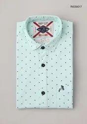 Roman Island Collar Neck Linen Printed Shirts