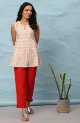 Janasya Women's Cream Cotton Top(J0300)