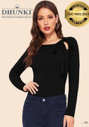 Casual Wear Full Sleeve Tie Neck Plain Women's T Shirt, Size: M,XL