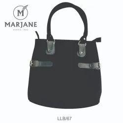 Marjane Plain Black Ladies Leather Carry Bag