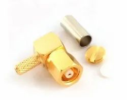 DEW SMC FEMALE R/A CRIMP TYPE, For RF, Contact Material: Gold