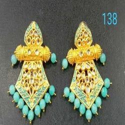 Gold And Sky Blue Western Kundan Earring Set For Women And Girl Bijoux