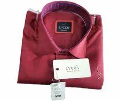 Cotton Red Lycos Mens Plain Shirt, Machine wash