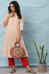 Janasya Women's Cream Cotton Kurta(J0299)