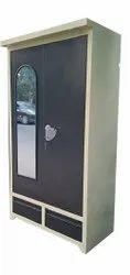 2 Doors Mirror Finishing Dressing Steel Almirah, With Locker