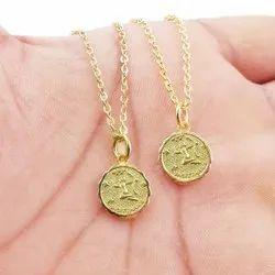 Nanplanetsilver 925 Sterling Silver Zodiac Sign Constellation Gold Zodiac Horoscope Necklace
