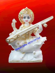 Sarasvati Mata Marble Statue