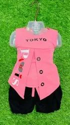 Pink and Black Kids Girl Sleeveless Top Short Set