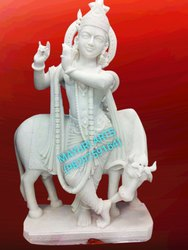 Standing Marble Shri Krishna Statue With Cow