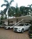White Tensile Fabric Car Parking Cantilever Structure