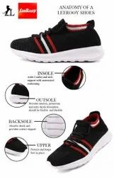 Leerooy Sports Casual Sneakers Lightweight Shoes For Running, Walking, Gym Black Spshoe109