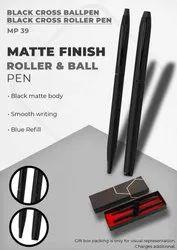 Matte Finish Black Cross Ball Pen & Black Cross Roller