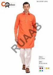 Cotton Party Wear Orange Kurta Pajama