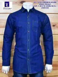 lancaster Plain Mens Denim Casual Shirt, Size: s/m/l/xl
