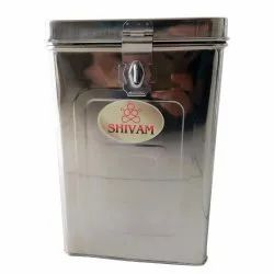 Silver Stainless Steel 15kg SS Square Dabba, For Hotel, Size: 12x8 Inch