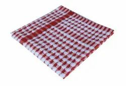 Check White And Red Printed Terry Cotton Kitchen Towel