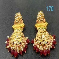 Gold And Red Western Kundan Earring Set For Women And Girl Bijoux