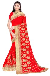 Janasya Women's Red Poly Georgette Embellished Saree With Blouse Piece(SAR086)
