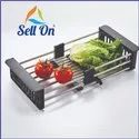 Stainless Steel Expandable Kitchen Sink Dish Drainer and Fruits Vegetables Drying Basket