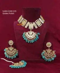 Copper Traditional Golden Polish Necklace Set, Box