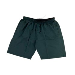 Thigh Length Men Dark Green Plain Cotton Shorts, Size: 34
