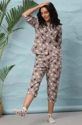 Janasya Women's Grey Cotton Night Suit Set(NW035)