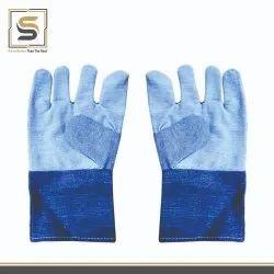 Blue Cotton Hand Gloves, Size: Medium