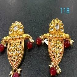 Gold And Maroon Western Kundan Earring Set For Women And Girl Bijoux