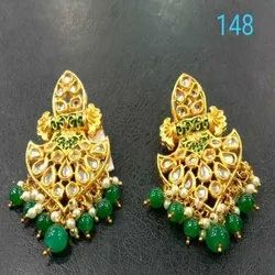 Gold And Green Western Kundan Earring Set For Women And Girl Bijoux