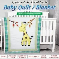Quilted Baby Blanket Made In Eco Friendly Cotton Applique Embroidered